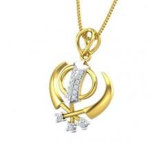 Natural Diamond Pendant 0.12 CT / 1.34 gm Gold