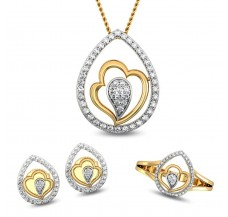 Natural Diamond Pendant Full Set - 0.64 CT / 8.21 gm Gold