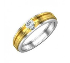 PreSet Natural Solitaire Diamond Band Men 0.30 CT / 6.00 gm Gold