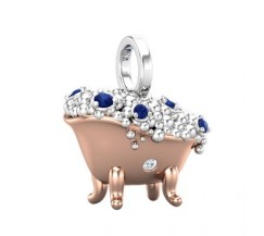 Natural Diamond With Gemstone Charm 0.26 CT / 3.14 Sterling Silver