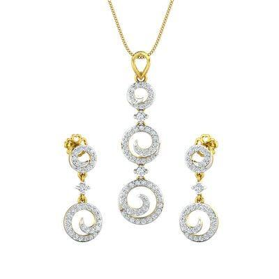 65f0e95fa Buy Diamond Pendant Half Set - 1.24 CT   10.24 gm Gold Online at ...